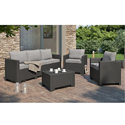bica colorado poly rattan gartenmoebel lounge set xxl rattanoptik sitzgruppe garnitur anthrazit. Black Bedroom Furniture Sets. Home Design Ideas